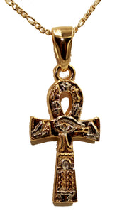 Osiris Cross Pendant - Egyptian Cross Pendant 18k Gold Plated Medal with 22 Inch Chain