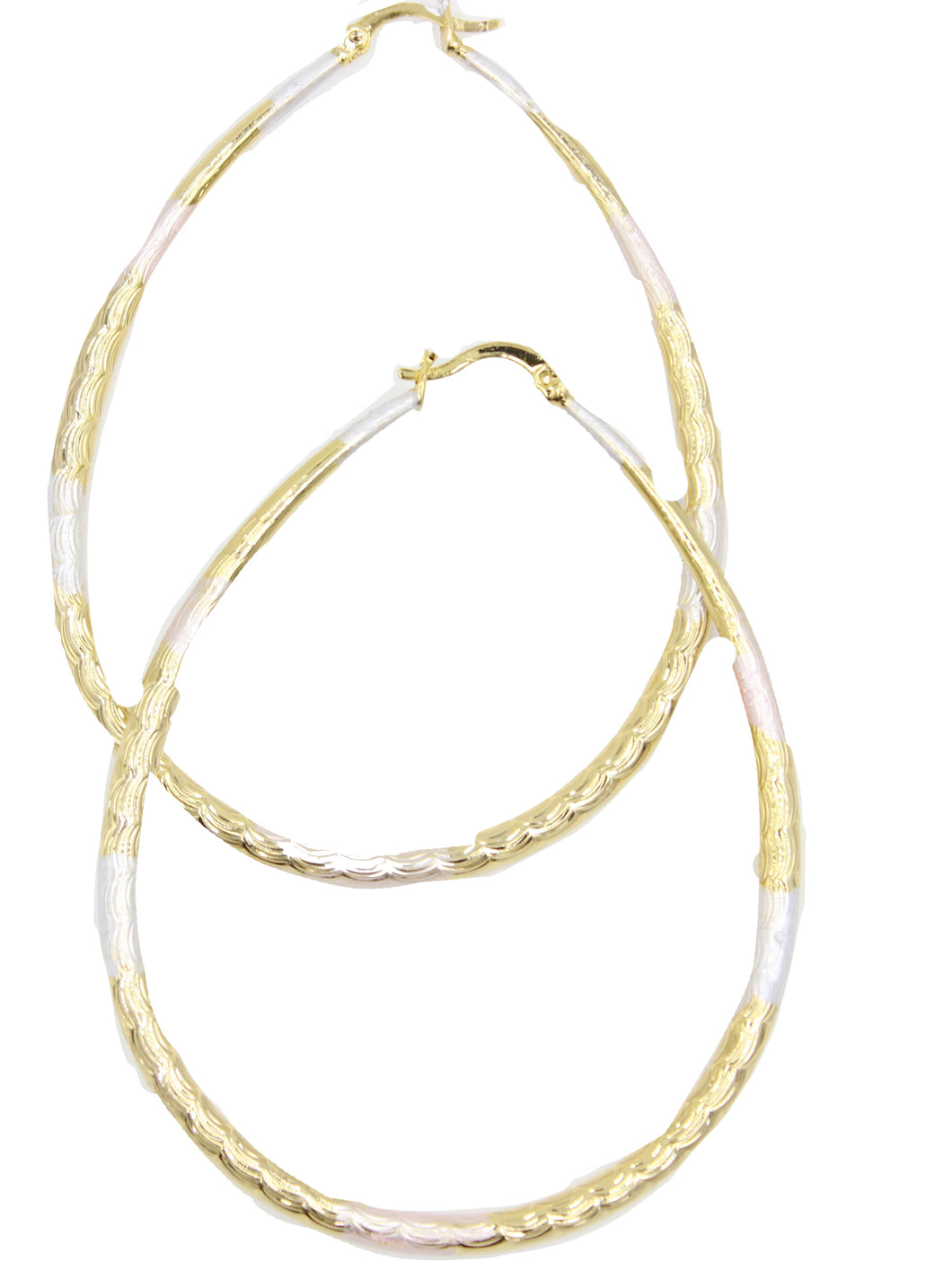 3 Inch Oval Hoop 3 Tone 18k Gold Plated - Oval Hoops 18k Gold Plated
