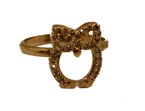 Owl Ring with Cubic Zirconia 18k Gold Plated Ring - Luck Owl Ring
