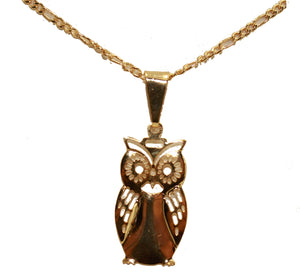 Owl Pendant 18k Gold Plated Pendant with 20 Inch Chain - Owl Necklace