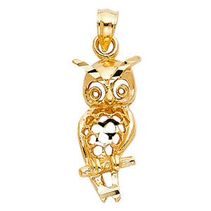 Owl Pendant 14k Yellow Gold Pendant - Owl Charm Pendant - Buho - Good Luck