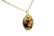 San Antonio De Padua 14k Gold Plated Medal with 18 Inch Chain - St Anthony Padua