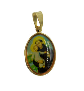 San Antonio de Padua - St Anthony of Padua 18k Gold Plated with 18 inch Chain
