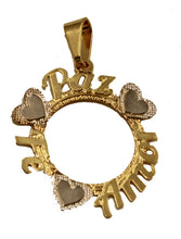 Fe, Paz y Amor Round Pendant 18k Gold Plated with 20 Inch Chain - Amor Necklace