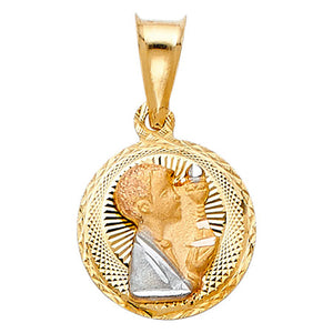 First Communion Boy 14k Yellow Gold Round Pendant - Communion Boy Round Medal