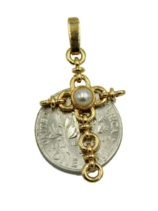 Pearl Cross Pendant 18k Gold Plated Medal with 20 inch Chain - Pearl Cross Charm
