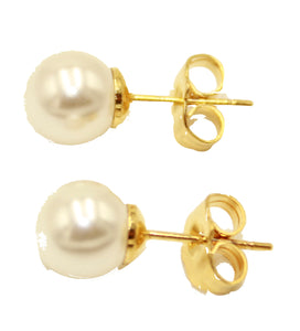 Pearl Round Ball 9mm 18k Gold Plated Stud Earrings - Pearl Earrings