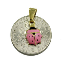 Ladybug Pink Charm Necklace 18k Gold Plated Pendant with 18 inch Chain