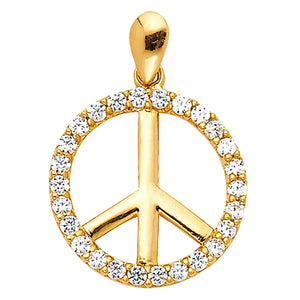 Peace and Love Sign Pendant CZ 14k Yellow Gold Pendant - Hippie 14k Gold Charm