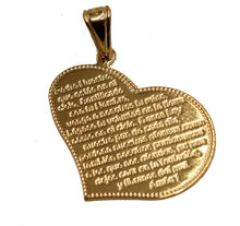 Padre Nuestro Heart Pendant with 20 inch Chain - Padre Nuestro Heart Necklace