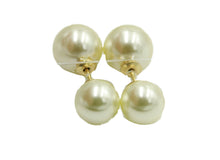 Double Ball Pearl Ear Stud Round Ball 12mm 18k Gold Plated Stud Earrings