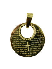 Padre Nuestro Prayer Gold Plated Stainless Steel Pendant with 18 inch Chain