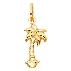 Palm Tree Pendant 14k Yellow Gold Pendant - Palm Tree 14k Gold Charm Pendant