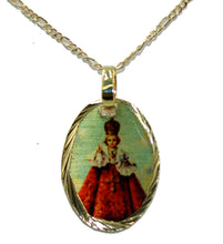 Infant Jesus of Prague Medal 14k Gold Plated Medal with 18 Inch Chain - Milagroso Niño Jesus de Praga Medal