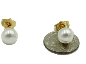 Sweet Water Pearl Earring 18k Gold Plated - Stud Pearl 5mm Earring