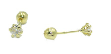 3mm Cubic Zirconia Earring 18k Gold Plated Screw Back Earrings - Baby Earrings