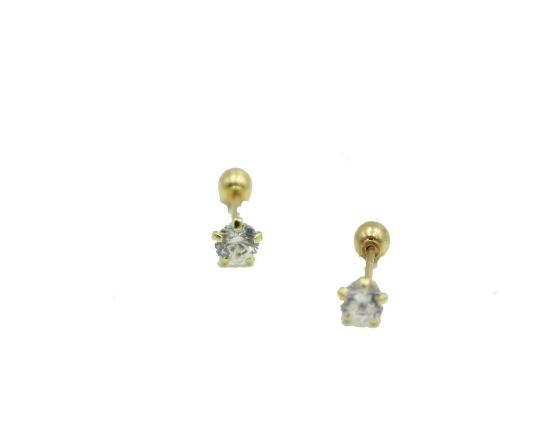 3mm Clear CZ 14k Solid Yellow Gold Stud - CZ 3mm Screw Back Baby Earring