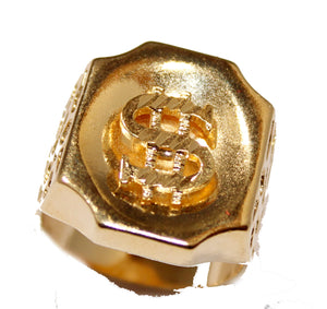 Dollar Sign Ring 18k Gold Plated Ring Different Sizes 10 to 12 - Dollar Ring- Money Sign Ring