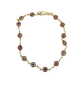 Evil Eye Anklet Foot Chain 18K Gold Plated - Red Evil Eye Anklet Charms Bracelet 9.5 Tobillera
