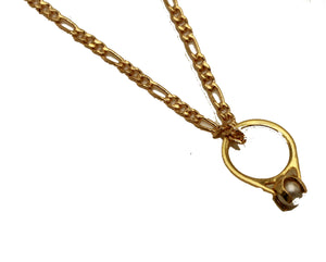 Solitaire Bride Pearl Ring Pendant 18k Gold Plated Pendant with 20 Inch Chain