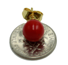Red Color Ball 7mm Earring 18k Gold Plated Earring - Red Stud Earring