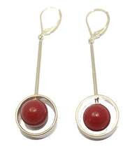 Red Ball 8mm Dangle Earring18k Gold Plated - Red Ball Dangle Earring