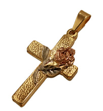 Rose Flower Cross Pendant18k Gold Plated Medal with 20 inch Chain - Rose Cross