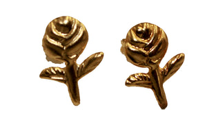 Rose Stud Earrings 18k Gold Plated Earrings Push Back Earrings
