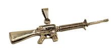 M-16 Assault Rifle Pendant .925 Sterling Silver - Mexico Taxco Silver Rifle