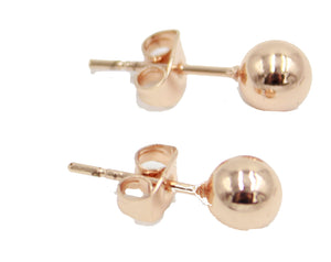5mm Rose Gold Ball 18k Rose Gold Plated Stud Earrings with Butterfly Backing