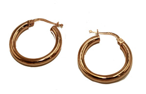 14k Rose Gold Hoop Earrings 3mm X 20mm - 14k Rose Gold Hoops 20mm