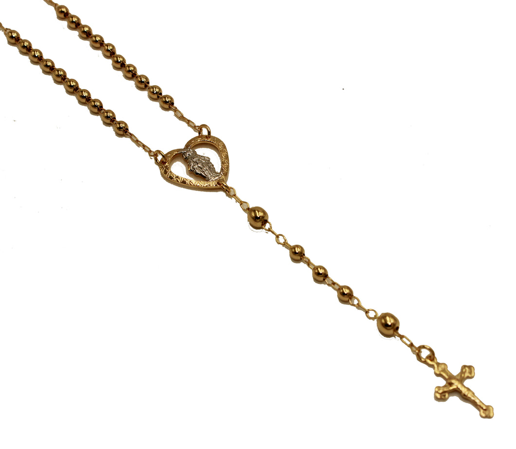 Virgen Milagrosa Multicolor Heart Rosary Necklace 18k Gold Plated 18 inch