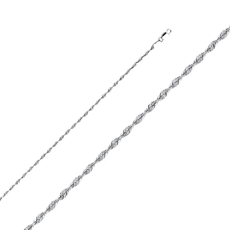 Rope Solid 2.5 mm 14k White Gold Chain - Rope 2.5 mm 14k White Gold Necklace