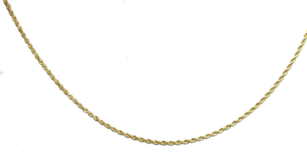 Rope Solid 1.5 mm 14k Yellow Gold Chain - Rope 1.5 mm 14k Yellow Gold Necklace
