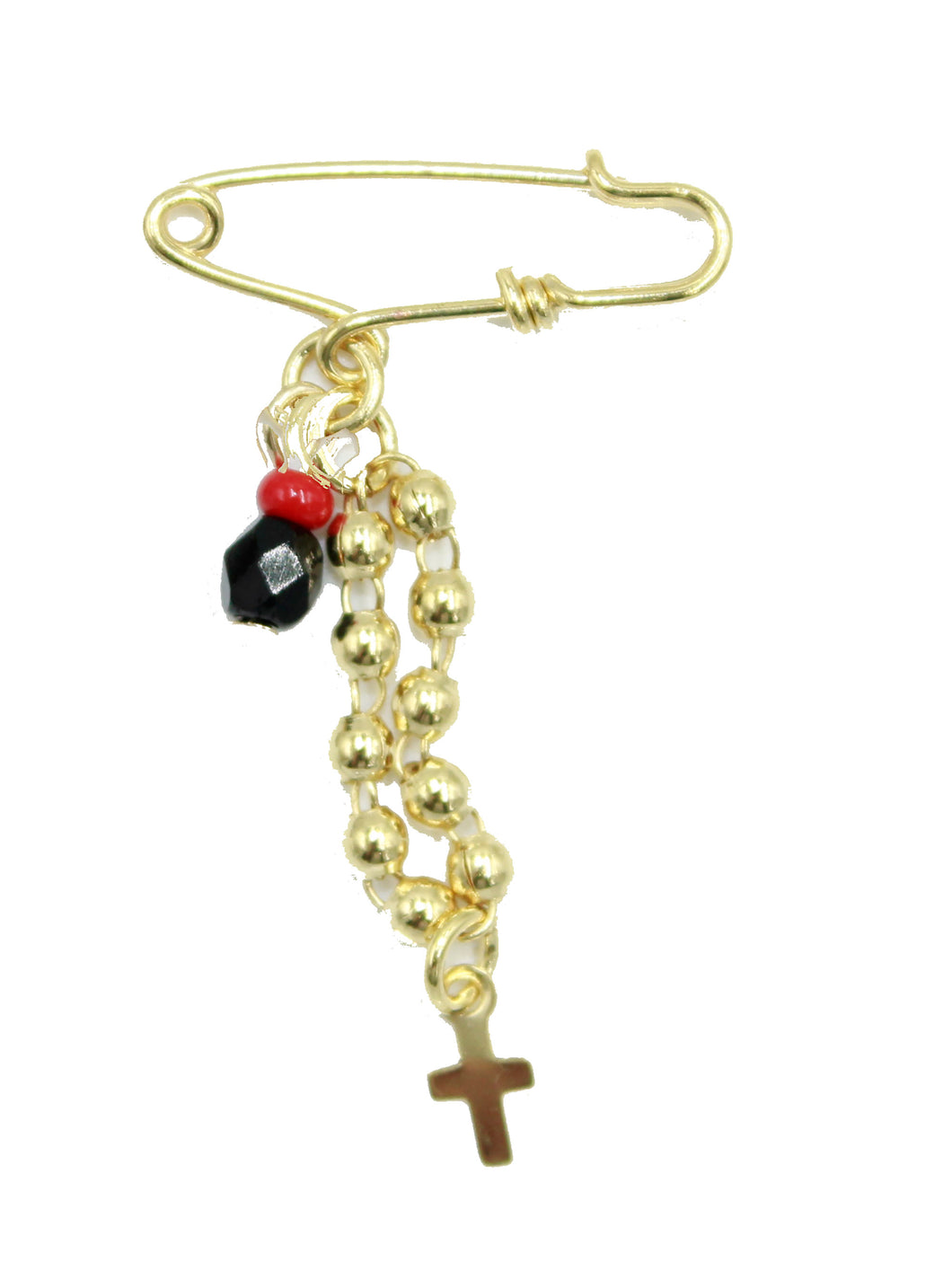 Rosary with Azabache Brooch 18k Gold Plated - Rosary with Azabache Pin