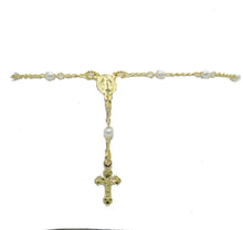 Rosary Pearl Bracelet 18k Gold Plated Bracelet - Rosary Decenario with Cross