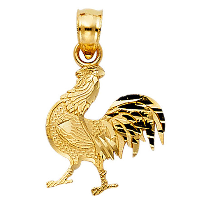 Rooster 14k Yellow Gold Pendant - Rooster Charm Gold Pendant