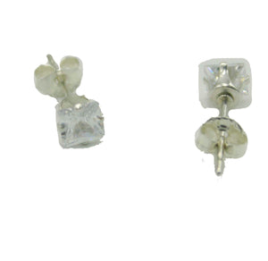 Cubic Zirconia 4mm X 4mm Square .925 Sterling Silver Stud Earrings - CZ Earrings