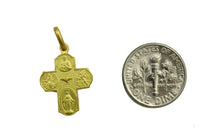 Scapular Cross 14k Solid Yellow Gold Pendant - Scapular 14k Solid Yellow Gold