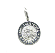 St Christopher Round Medal .925 Sterling Silver - Saint Christopher Protect Us