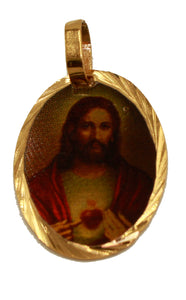 Sacred Jesus Heart - Sagrado Corazon Medal 18K Gold Plated with 18 inch Chain