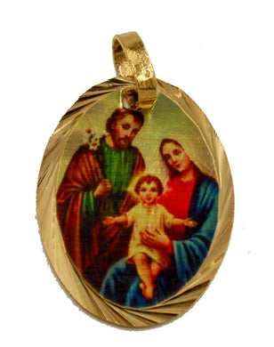 Sacred Family Medal 14k Gold Plated wit Chain - Sagrada Familia Medalla