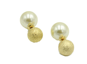 Double Ball Pearl Sparkling Ear Stud Round Ball 12mm 18k Gold Plated Earrings