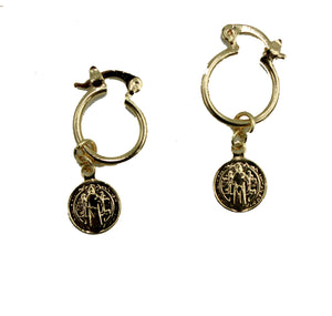 San Benito Hoop Earrings - St. Benedict Hoop Earrings 18k Gold Plated Dangle Earrings