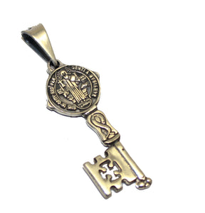San Benito Key Pendant .925 Sterling Silver - St Benedict Key Pendant Mexico