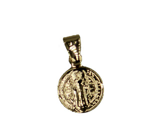 San Benito 18k Gold Plated Pendant with 18 inch Chain- St. Benedictus Mini Medal