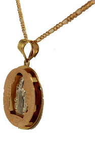 San Benito Round Three Tone Medal with 20 inch Chain - St Benedict Necklace