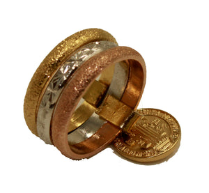 San Benito Three Tone Ring 18k Gold Plated - San Benito Ring 5 & 6