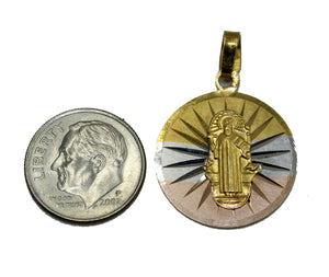 San Benito Round Two Tone Medal with 20 inch Chain - St Benedict Necklace