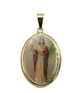 Sta. Barbara Pendant - Santa Barbara Medal 18K Gold Plated with 20 inch Chain